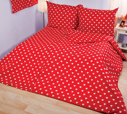 Bavlněné povlečení Srdíčka, bílá + červená, 140 x 200 cm, 70 x 90 cm