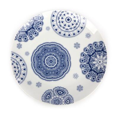 Dezertní talíř Blue Laces 20 cm, bílá