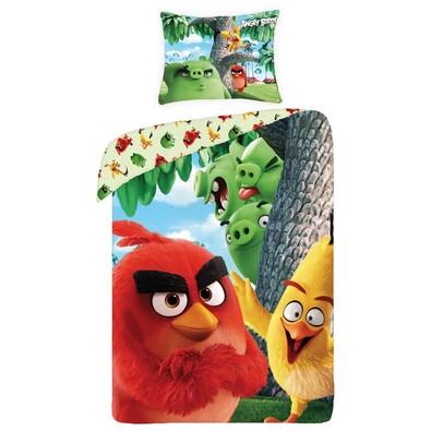 Lenjerie de pat Angry Birds movie 1166, din bumbac, pentru copii, 140 x 200 cm, 70 x 90 cm