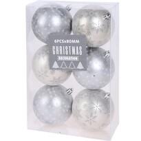 Set decorațiuni Crăciun Pachino, argintiu, 6 buc.,diam. 8 cm