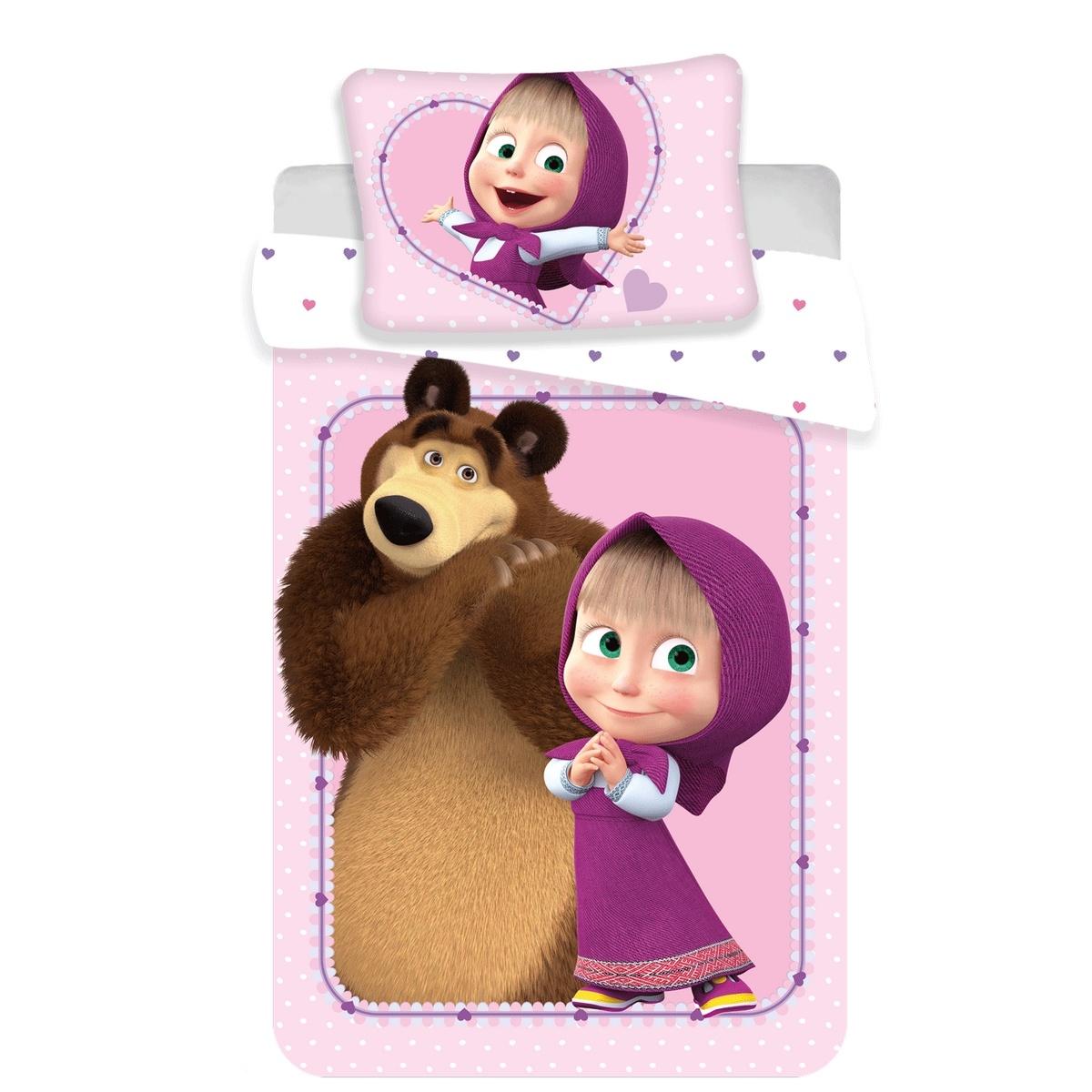 Jerry Fabrics Detské bavlnené obliečky Máša a Medveď Srdce, 100 x 135 cm, 40 x 60 cm