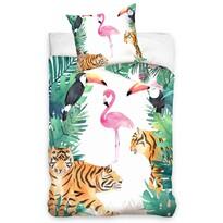 Lenjerie bumbac Flamingo și Tigru, 140 x 200 cm, 70 x 90 cm