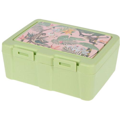 Lunch box s príborom, 13,5 x 18 x 7,5 cm, zelená