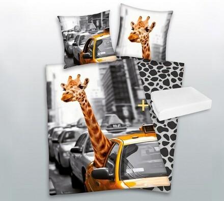 Výhodná sada: povlečení Žirafa v taxíku + prostěra