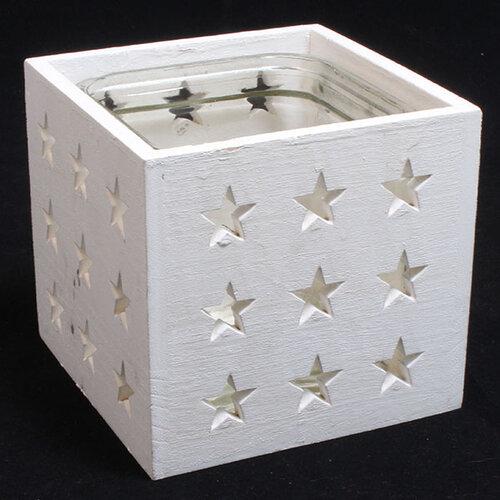 Drevený svietnik so sklom Stars 14 x 13 cm, biela