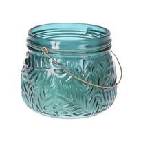 Lame gyertya üvegben sötétzöld, 11 x 9 cm