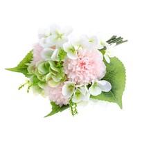 Umelá kytica Pivonka s hortenziou svetloružová, 30 cm