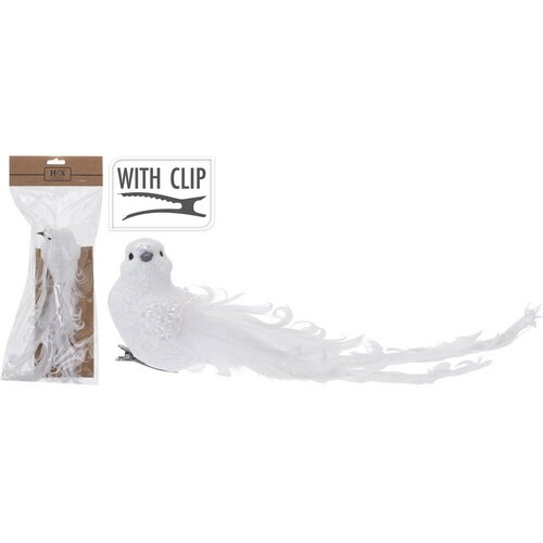Vianočná dekorácia Biely vtáčik na klipe, 23 cm