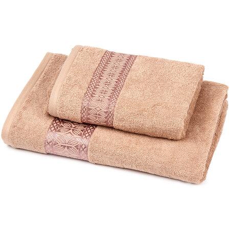 Sada Strook ručník a osuška hnědá, 70 x 140 cm, 50 x 100 cm