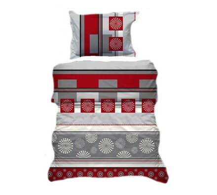 Přikrývka a polštář šedo-červená, 70x90, 140x200 B, bílá + červená
