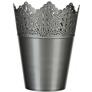 Plastový obal na květináč Krajka 15 cm, stříbrná