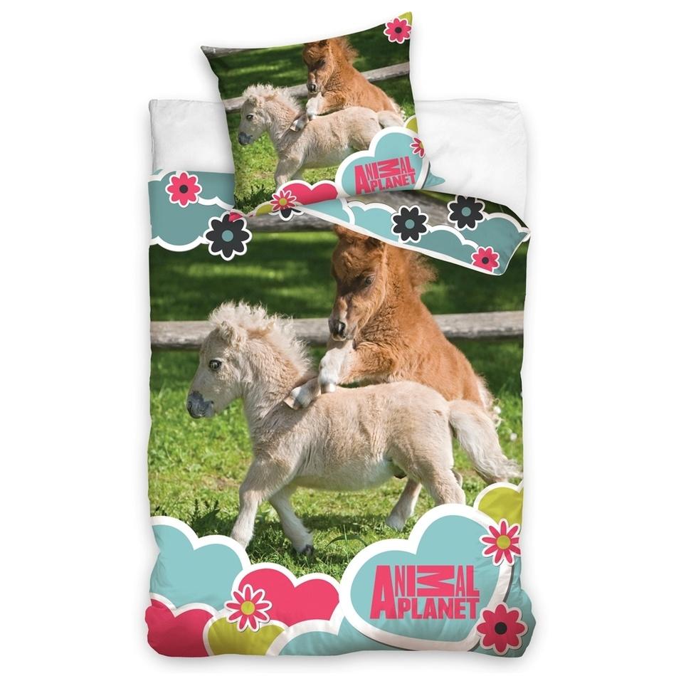 TipTrade Bavlnené obliečky Animal Planet - Poníky, 140 x 200 cm, 70 x 80 cm