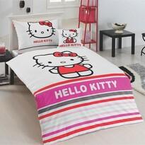 Matějovský Bavlněné povlečení Hello Kitty Stripe, 140 x 200 cm, 70 x 90 cm