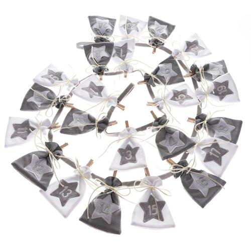 Textilní adventní kalendář Stars, 68 cm