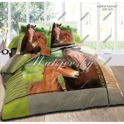 Matějovský bavlněné povlečení Horse Family, 140 x 200 cm, 70 x 90 cm