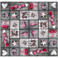 Díszek karácsonyi abrosz, patchwork, 85 x 85 cm