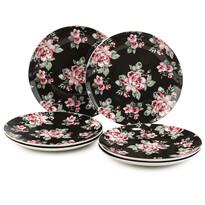 Altom 6dílná sada dezertních talířů ParisRose 20 cm, černá