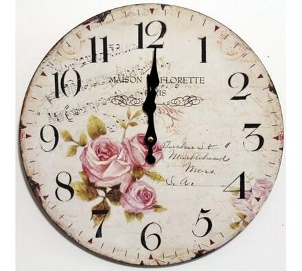 Nástěnné hodiny růže a noty