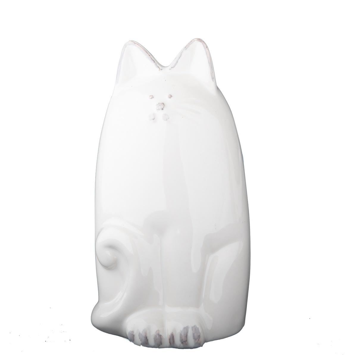 Keramická kasička kočka 14,5 cm, bílá