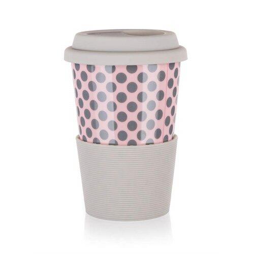 Banquet Cană ceramică cu capac de silicon GO 400 ml, roz