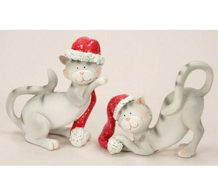 Sada vánočních postaviček - kočky, 2 kusy