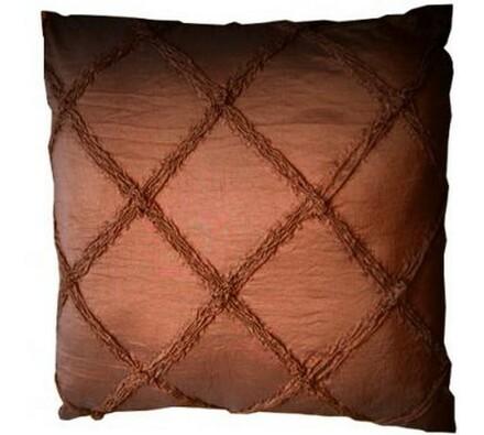Dekorativní polštář vyšívaný vzor, 45 x 45 cm, tmavě hnědá, 45 x 45 cm