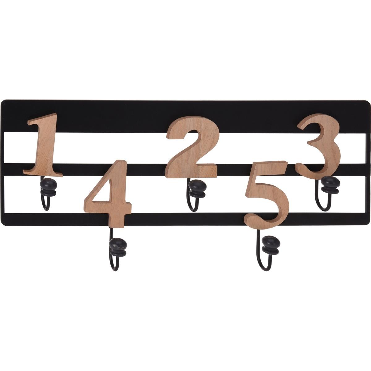 Nástěnný věšák 5 háčků Numeros, černá