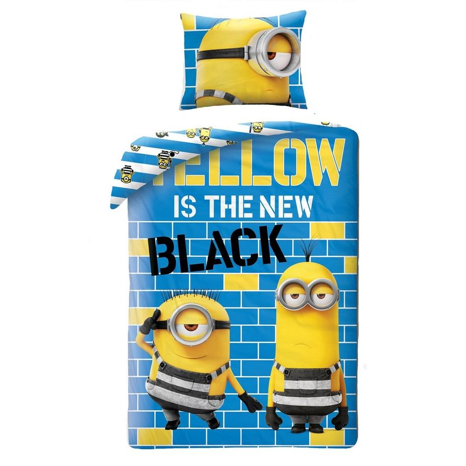 Halantex Dětské bavlněné povlečení Já padouch Mimoni Yellow is the new Black, 140 x 200 cm, 70 x 90 cm