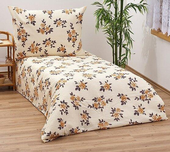 Krepové obliečky oranžové kvety, 140 x 200 cm, 70 x 90 cm