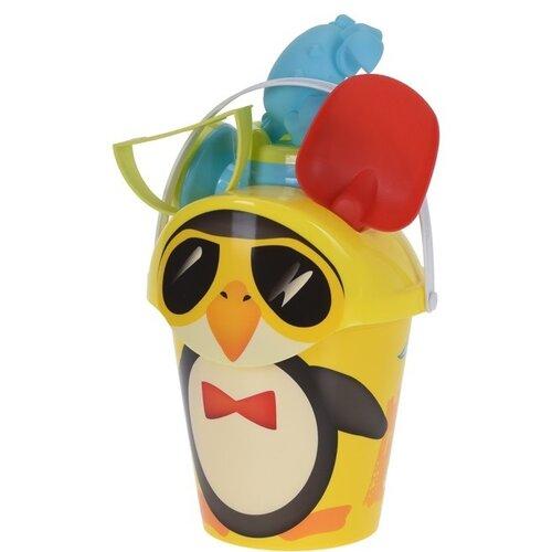 Pingvin gyerek strandkészlet sárga, 6 db