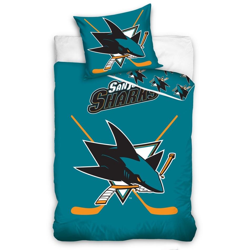 TipTrade Bavlněné svíticí povlečení NHL San Jose Sharks , 140 x 200 cm, 70 x 90 cm