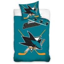 Lenjerie de pat luminoasă NHL San Jose Sharks, bumbac, 140 x 200 cm, 70 x 90 cm