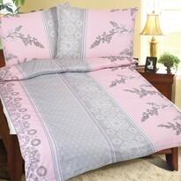 Pościel kora Krzak różowo-szary, 140 x 200 cm, 70 x 90 cm