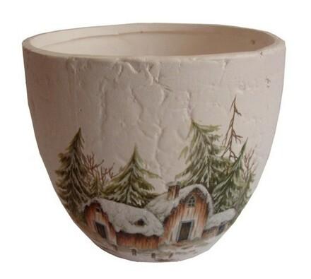 Vánoční obal na květináč, keramický