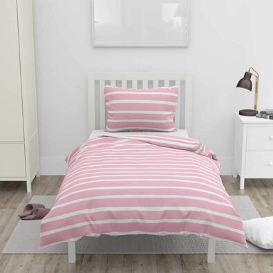 Bavlnené obliečky Ružový prúžok, 140 x 200 cm, 70 x 90 cm