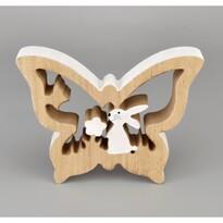 Drevený Motýľ so zajačikom, 15 cm