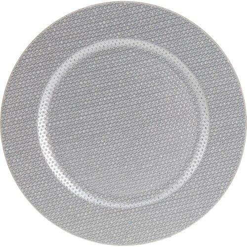 Trblietavý dekoračný tanier strieborná, pr. 33 cm