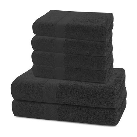 DecoKing Sada ručníků a osušek Marina černá, 4 ks 50 x 100 cm, 2 ks 70 x 140 cm