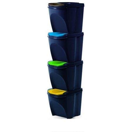 Sortibox Szelektív hulladékgyűjtő kosara 20 l, 4 db, antracit