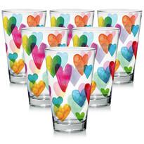 Mäser Love Rainbow 6 részes üvegpohár készlet, 310 ml