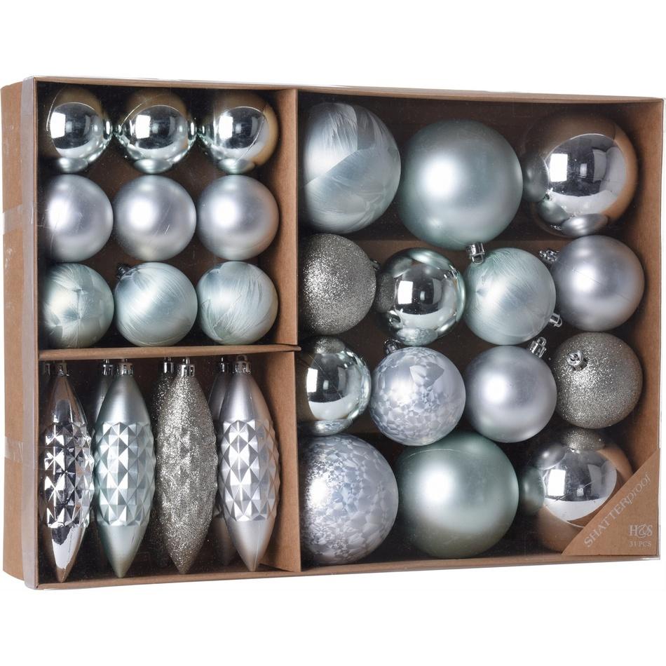 Sada vánočních ozdob Terme modrá, 31 ks