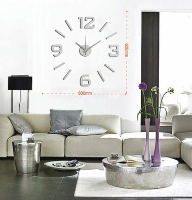 Samolepicí nástěnné hodiny stříbrná