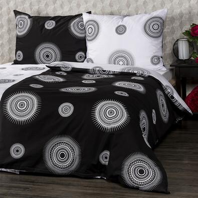 Lenjerie pat 1 pers. 4Home Tango din bumbac,  alb + negru, 140 x 220 cm, 70 x 90 cm