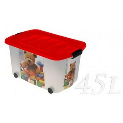 Kaiserhoff MEDVÍDEK úložný box pojízdný 45l červená