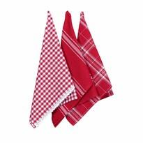 Kuchyňská utěrka s krajkou červená, 50 x 70 cm, sada 3 ks