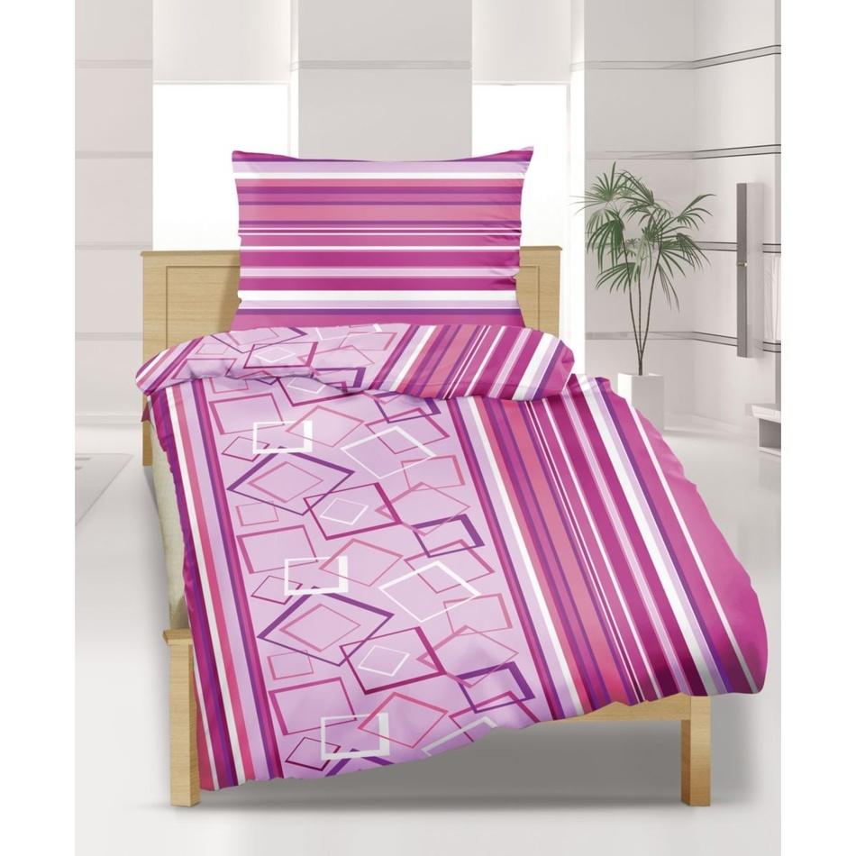 Bellatex Flanelové obliečky Štvorce ružové, 240 x 200 cm, 2 ks 70 x 90 cm