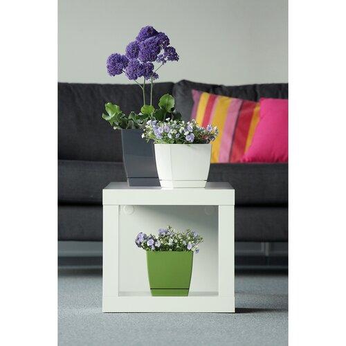 Kvetináč Coubi Square s miskou biela, 18 cm