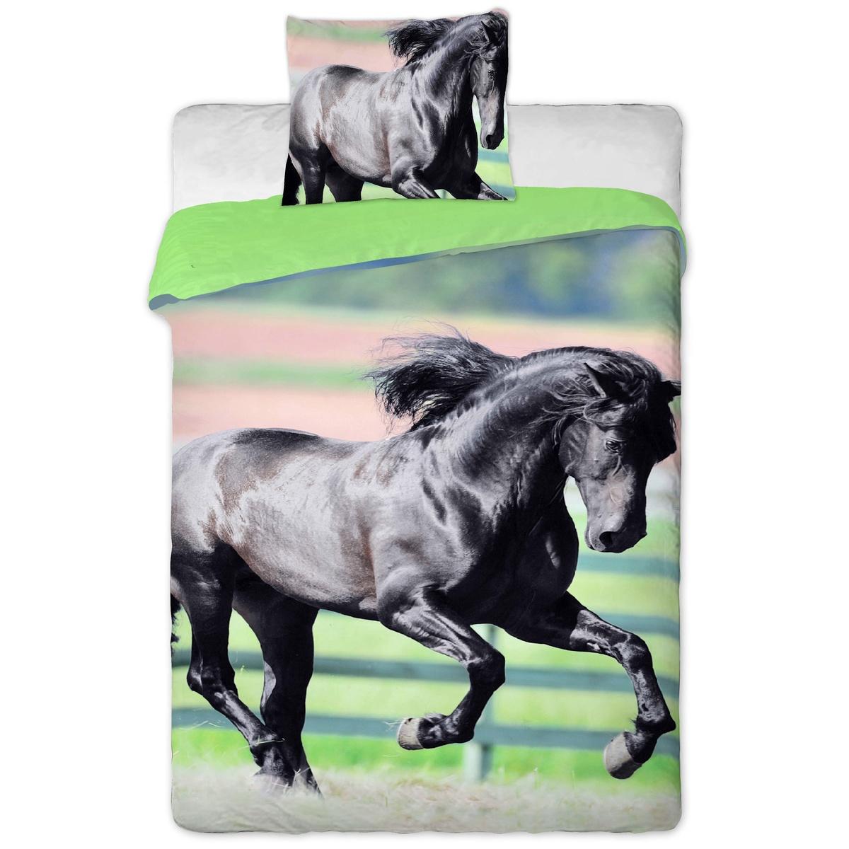 Jerry Fabrics bavlna povlečení Černý kůň fototisk Černý kůň 140x200 70x90