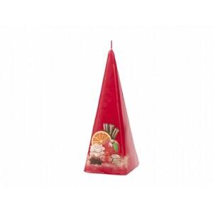 Vánoční svíčka Christmas time jehlan, červená