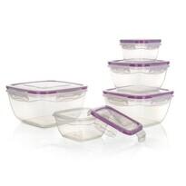 Banquet Műanyag élelmiszertartó doboz készlet, 5 db, lila